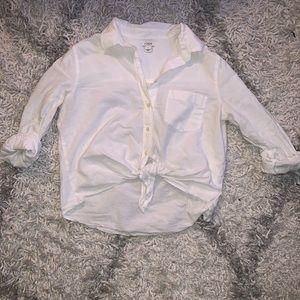 J. Crew Front Tie Linen Blend Button Down Shirt
